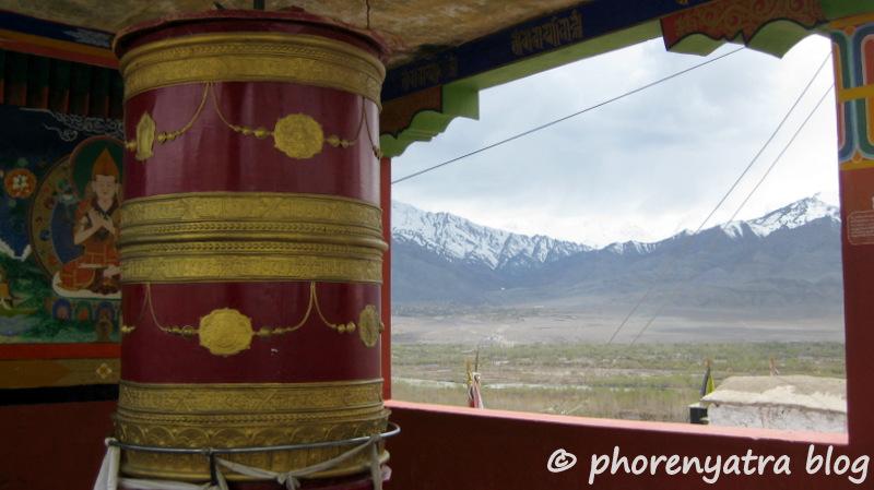prayer wheel at Shey Palace