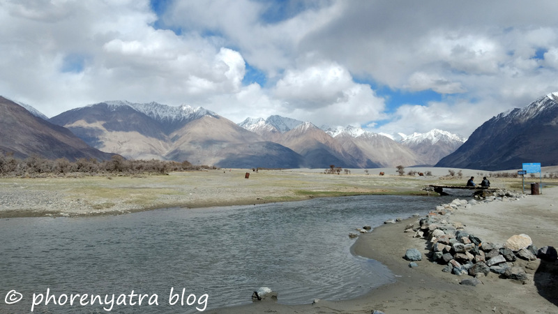 view from sand dunes nubra hunder