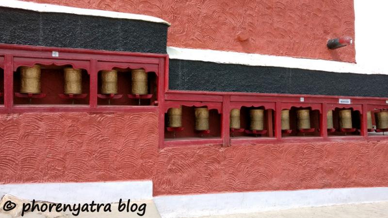 prayer wheels at Thiksey monastery