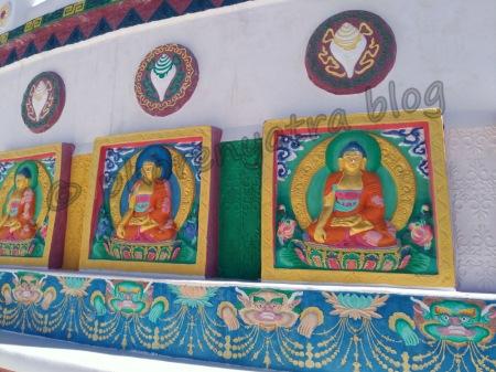 colourful paintings on shanti stupa walls