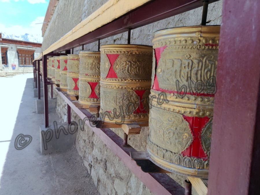 prayer wheels at Lamayuru Monastery