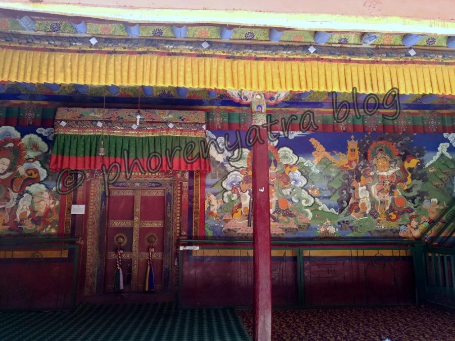 colourful paintings inside Lamayuru Monastery