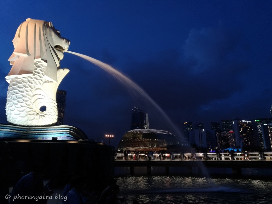 Merlion Singapore night