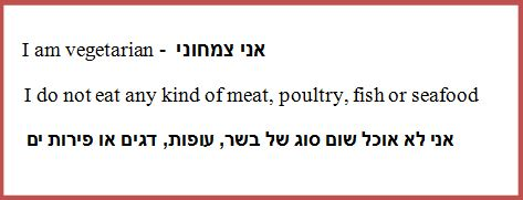 israel vegetarian flashcard
