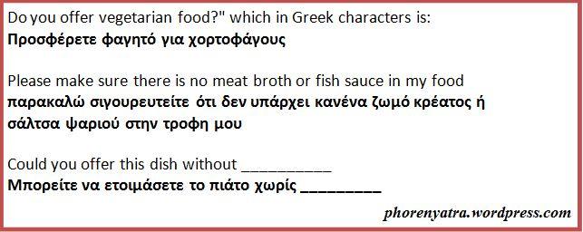 greek vegan food translation card